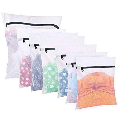 7Pcs Mesh Laundry Bag Travel Storage Organize Bag Clothing Washing Bags for Blouse, Hosiery, Stocking, Bra, Underwear, Lingerie (1 Extra Large, 2 Large, 3 Medium Bags, 1 Bra Wash Bags)