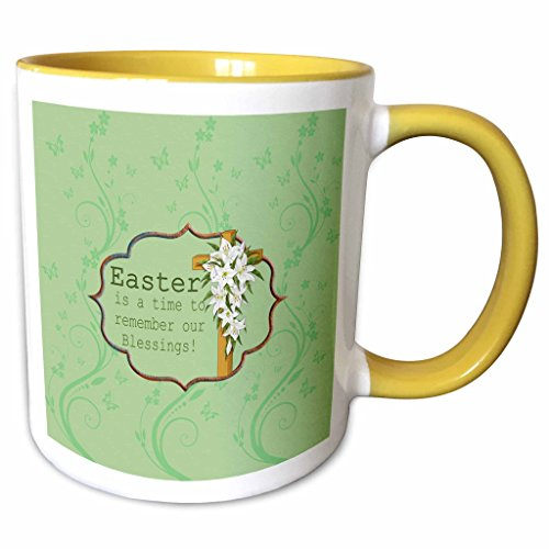Easter Lily Vine - 3dRose Beverly Turner Easter Design and Photography - Easter is a time to remember our Blessings, Cross, Lilies, Vine Design - 11oz Two-Tone Yellow Mug (mug_276168_8)