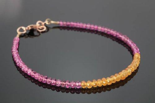 JP_Beads Pink Tourmaline & Mandarin Garnet Beaded Bracelet -