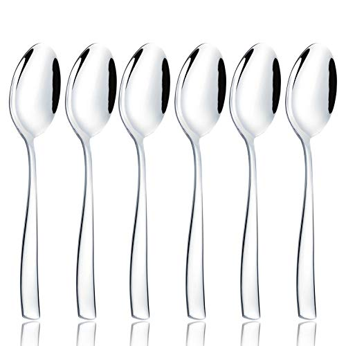 (OMGard Dinner Spoon Set 6 Piece Flatware Bulk 18/8 Stainless Steel 8-inch Dessert Spoons Only Weight Eating Utensils Table Silverware Cutlery Service for 6 Dishwasher Safe Mirror Finished 6/Case)