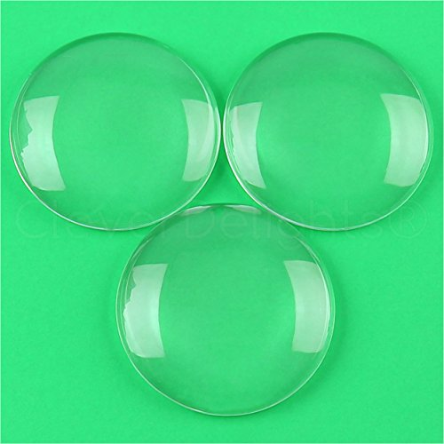 2 Pack - CleverDelights 2.5'' Round Glass Cabochons - 1/2'' Thick - Clear Magnifying Glass Dome Cabs by CleverDelights
