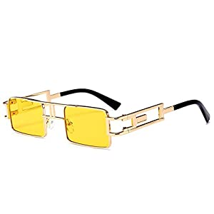 Steampunk Rectangle Sunglasses Men Gold Black Red Flat Top Square Sun Glasses Inspired Metal Frame Glasses for Women 2018 (Yellow)