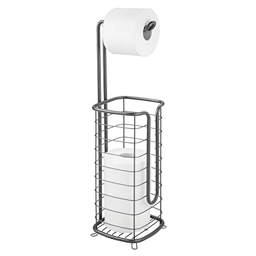 - mDesign Metal Free Standing Toilet Paper Holder Stand and Dispenser, with Storage for 3 Rolls of Toilet Tissue While Dispensing 1 Roll for Bathrooms/Powder Rooms - Holds Mega Rolls - Graphite Gray