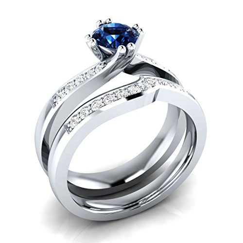 (Awesome 0.65 cttw Round Blue Sapphire & CZ Diamond Wedding Band Engagement Bridal Ring Set 18k White Gold Plated)