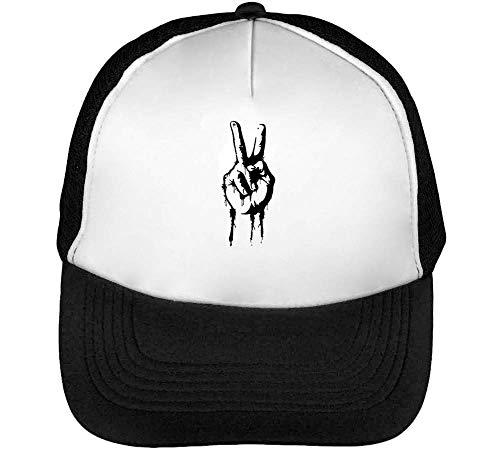 Peace Sign Hand Gorras Hombre Snapback Beisbol Negro Blanco