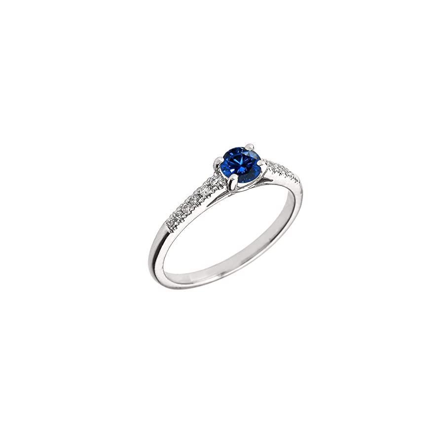 10K White Gold Diamond and Genuine Sapphire Engagement Proposal Ring