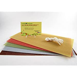 """Make Your Own Beeswax Candle Starter Kit - 5 Full Size (approx. 8"""" x 16 1/4"""") 100% Beeswax Honeycomb Sheets in Assorted Colors (Pat's Choice) - Light Blue, Terracotta, Chocolate, Avocado and Natural."""