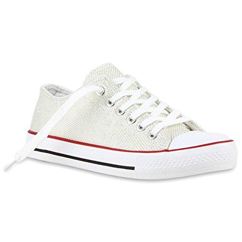 Glänzende Damen Sneakers Glitzer Metallic Sneaker Low Pailletten Flats Turnschuhe Leder-Optik Flandell Creme