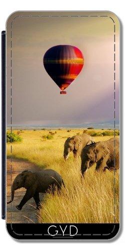 Leder Flip Case Tasche Hülle für Apple Iphone 7 Plus / 8 Plus - Elefant Ballon Afrika by WonderfulDreamPicture