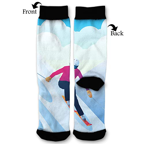 EKUIOP Socks Young Sportsman Skier On Skis from A Mountain Funny Fashion Novelty Advanced Moisture Wicking Sock for Man Women (Best Ski Boots For Advanced Skiers)
