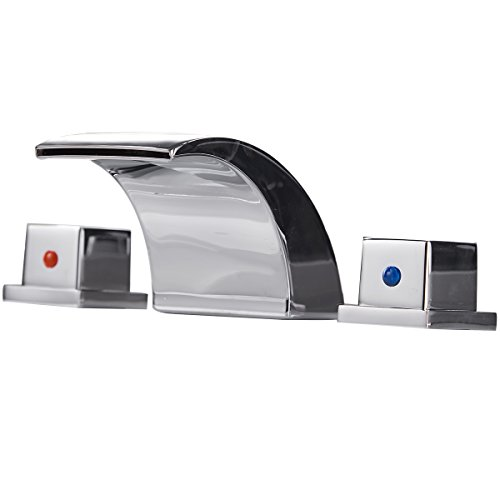 Greenspring Led Waterfall Widespread Bathroom Sink Faucet Commercial Two Handles,Chrome Finish