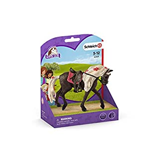 Schleich Horse Club Rocky Mountain Horse Mare Horse Show 3-piece Educational Playset for Kids Ages 5-12