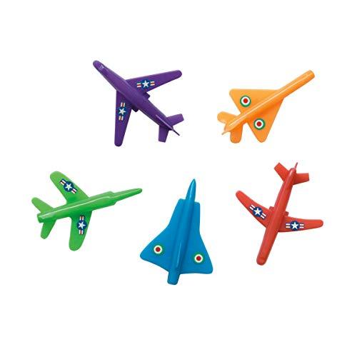 Unique Party 84764 - Jouets pour Pochette Cadeau - Avion à Jet en Plastique - Assortiment de 5