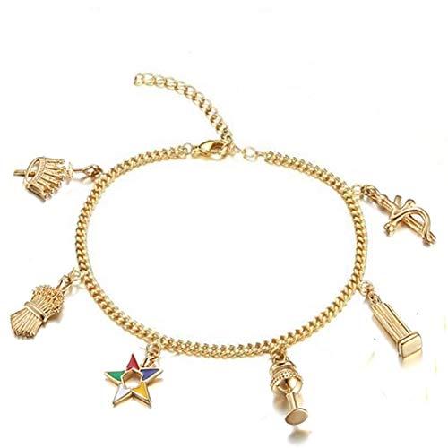 Dungkey Gold Women Masonic Freemason Jewelry OES Charms Bracelets Ankle Order of Eastern Star Charms Women Bracelet