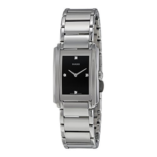 Rado Integral Black Dial Stainless Steel Ladies Quartz Watch R20213713