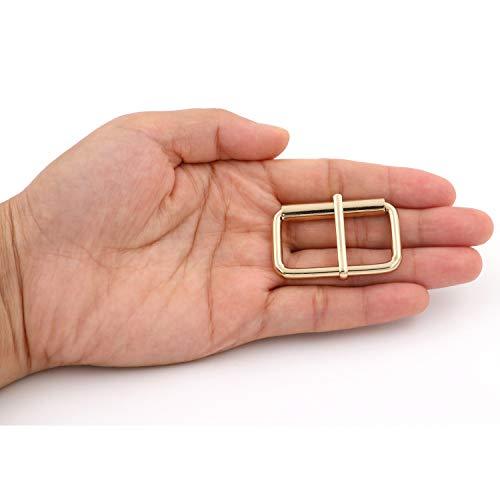 BIKICOCO 3.8 x 2 cm Roller Pin Buckles Handmade Hardware for Bags Leather Belt Webbing Straps, Light Gold - Pack of 6