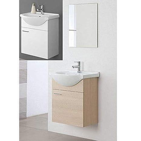 Arredo Bagno sospeso Rovere specchiera 56 lavabo Ceramica mobili ...
