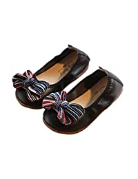 iFANS Toddler Cute Bow Dance Shoes Kids Non-Slip Loafers Boys Girls Soft Bottom Flat
