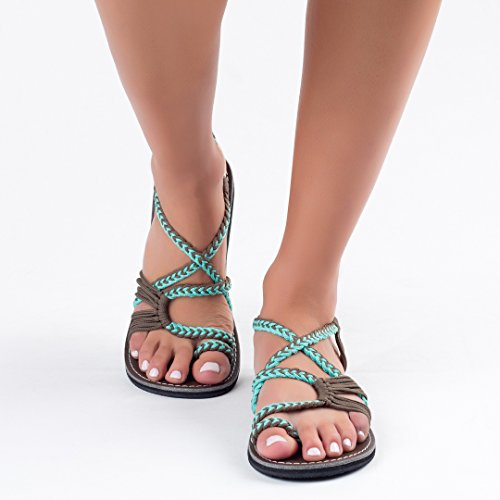 Plaka Women Flat Turquoise Sandals for Palm Gray Leaf rqwUrOFZAW