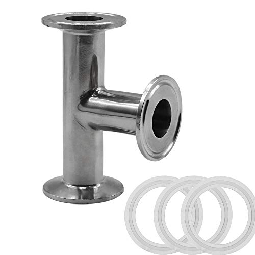 MIKIKI 3 Way Equal Split Tee Pipe Fitting - 25mm OD 304 Stainless Steel Sanitary Clamp Tee Connector with Gasket (Compatible 1.5