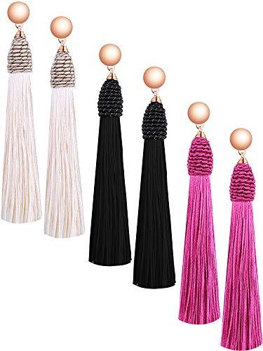 (Tatuo 3 Pairs Long Tassel Earrings Drop Fringe Earrings Thread Earrings with Beads for Women Girls Ladies (Rose Red, Black, Beige))