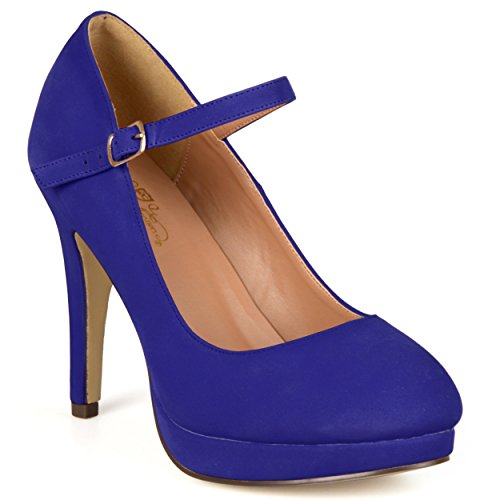 Brinley Co Women's Geri WD Dress Pump, Blue Wide, 7.5 W (Pump Wide Width Platform)