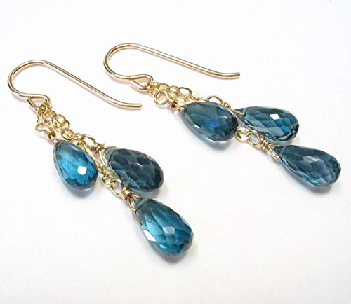(Genuine London Blue Topaz Gemstone Earrings 14K Gold Filled)