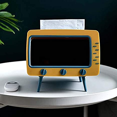 Creative TV Tissue Box Desktop Paper Holder Dispenser Storage Napkin Case Organizer with Mobile Phone Holder for Home Hotel,W