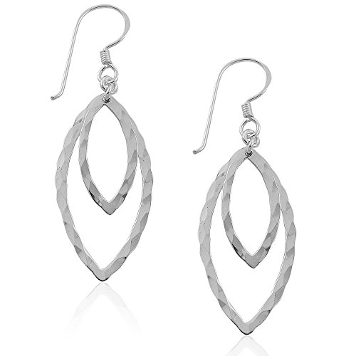 MIMI 925 Sterling Silver Hammered Double Open Leaf Drop Dangle Hook Earrings