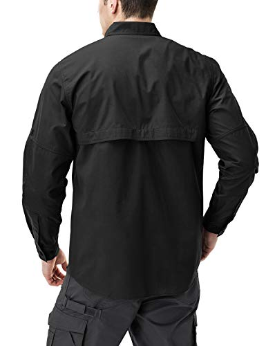 CQR CQ-TOS421-BLK_Large Men's Performance Fishing Gear UPF 50+ Long-Sleeve Breathable PFG Rip-Stop Shirt TOS421