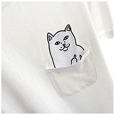 T-shirt Women T Shirt Middle Finger Cat Pocket Shirts Tops