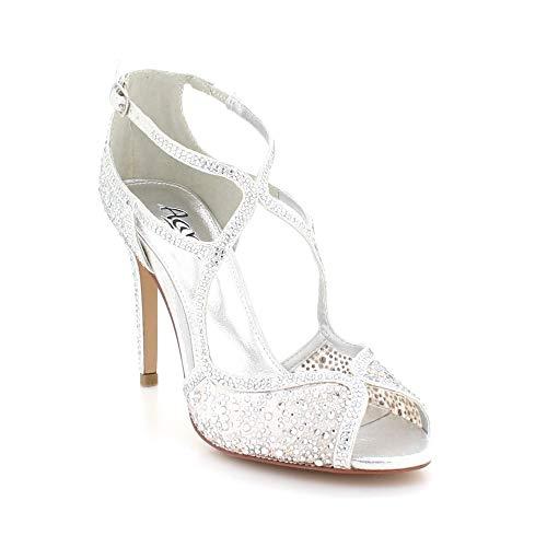 f65b5be27f17c3 Diamant Sandale Bal Chaussures À Courroie La Peep Toe Dames De Noce Parti  Argent D'épaule Soirée ...