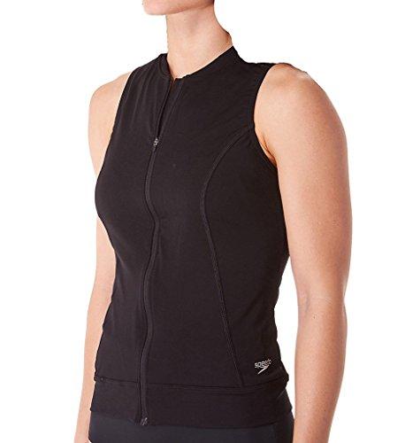 Speedo Women's Zip Front Tankini, Black, Size 14 (Front Tankini)