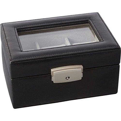 Royceleather Luxury 3 Slot Watch Box (Black) 3