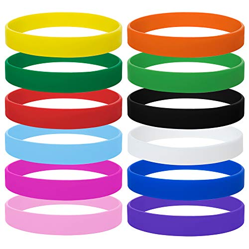GOGO 12PCS Rubber Bracelets for Kids Silicone Rubber Wrist Bands for Events Party Favors - Assorted -