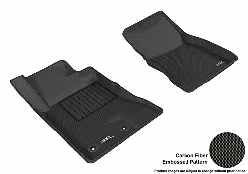 - 3D MAXpider Front Row Custom Fit Floor Mat for Select Ford Mustang Models - Kagu Rubber (Black)