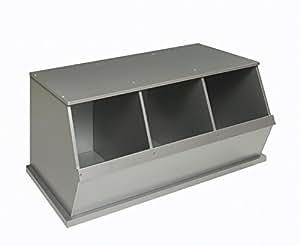 Badger Basket Three Bin Storage Cubby, Silver
