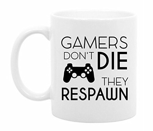 The Coffee Corner - Gamers Don't Die They Respawn - 11 Ounce White Ceramic Coffee or Tea Mug - Funny Video Game Mug - Gift for Gamer (Coffee Cups Hd Design)