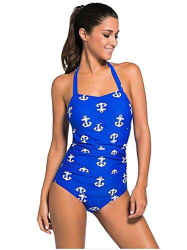 HZZ Un cabestro pieza para mujer traje de baño de la vendimia Monokinis 3