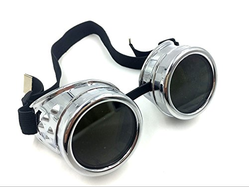 WEICHUAN New Sell Vintage Steampunk Goggles Glasses Cosplay Cyber Punk Gothic(Black) 4
