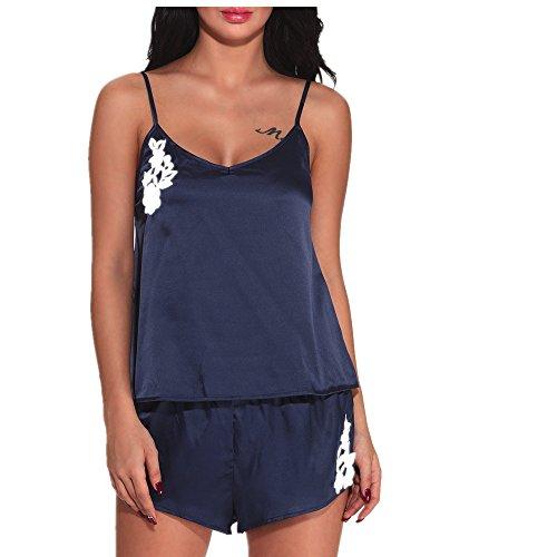 MOIKA Damen Lace Nachtwäsche, New Mode Frauen Keine Spur Dessous Nachthemd Spitze Bodysuit Unterwäsche Set Nachtwäsche Blau