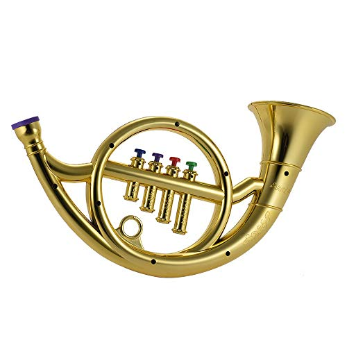 Dingq Musical Instrument Toy French Horn with 4 Colored Keys Musical Gift for Kids Children