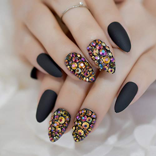 CoolNail 3D Press On Nails Rose Black Bling Gems Matte Stiletto Fake False Nails Almond Frosted Oval Short Pointed Full Cover Faux ()
