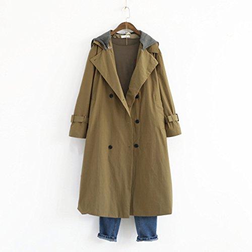 Khaki Belt Solid Windbreaker DYF sleeve Long Color button Coat Buckle Women Hat zaawqxtP