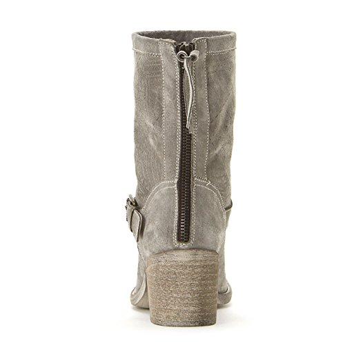 ALESYA by Scarpe&Scarpe - Botines altos con cremallera trasera y hebilla Gris
