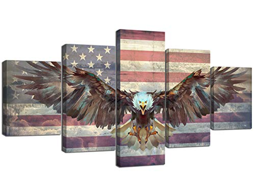 - Yatsen Bridge 5 Panels Modern American Flag Wall Art Cool Eagle Spreads Its Wings with USA Flag Painting Prints on Canvas Rustic Wall Decor Stretched by Wooden Frame Ready to Hang - 60''W x 32''H