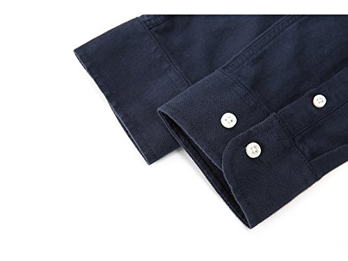Men's Oxford Long Sleeve Button Down Dress Shirt With Pocket,Navy Blue,Large