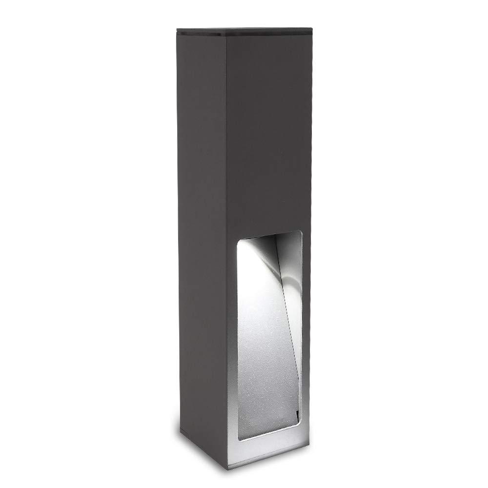 Wegeleuchte Aluminium grau 45 cm | einseitiger Lichtaustritt + E27 + IP43 + robust + winterfest + dimmbar + indirekte Beleuchtung | Gartenbeleuchtung | Außenlampe | Standleuchte | Außenleuchte LHG