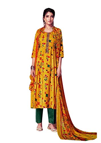 (Ladyline Rayon Ethnic Printed Salwar Kameez Embroidery with Pants Style Indian Dress Suit (Size_34/ Yellow Gold))