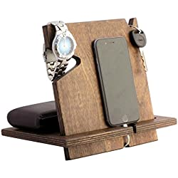 Wooden iPhone Docking Station, Valentine's Day Gifts For Men, Dad, 5th Anniversary Gifts For Him, Fathers Day Gifts, Works With ALL iPhone models, Android (Espresso-non personalized)